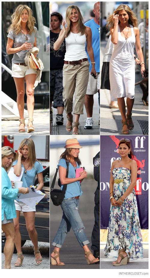 Jennifer aniston eva mendes stuart weitzman alex espadrille wedge sandals