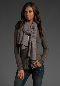 Inhabit cashmere and cotton striped scarf in cobblestone and smoke