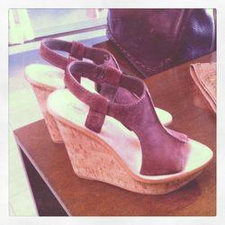 Elizabeth and James Harp Suede Wedge Sandals