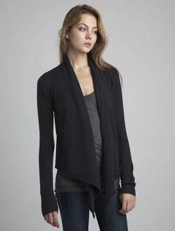 Inhabit Cashmere Pointelle Drape Cardi in Night