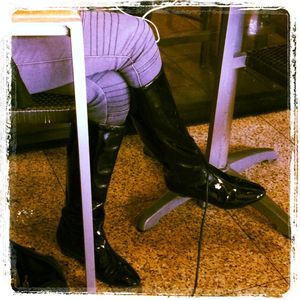 BCBG Patent Leather Wedge Boots