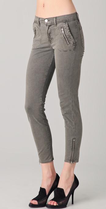 J Brand Ginger Skinny Zip Cropped Jeans in Vintage Armadillo