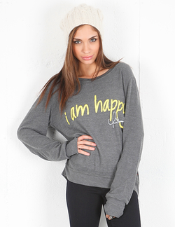 Peace Love World I Am Happy Oversized Comfy Raglan in Grey as seen on Kourtney Kardashian