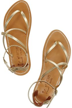 K JACQUES ST TROPEZ Epicure multi-strap metallic leather sandals