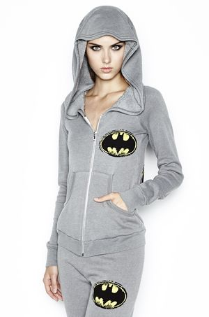 Lauren Moshi Violet Color Batman Fitted Zip Up Hoodie