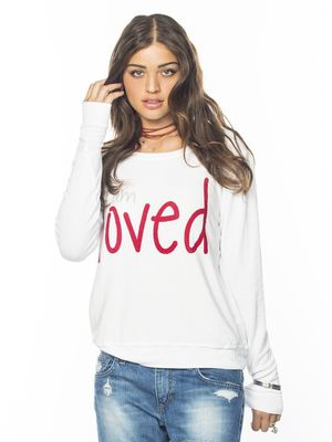 Peace Love World I am loved oversized comfy sweater in white