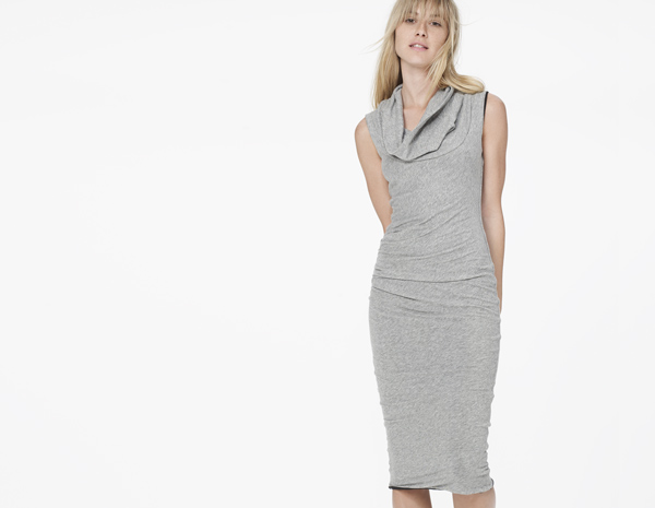 James Perse Cowl Neck Tuck Dress in Heather Grey and Charcoal