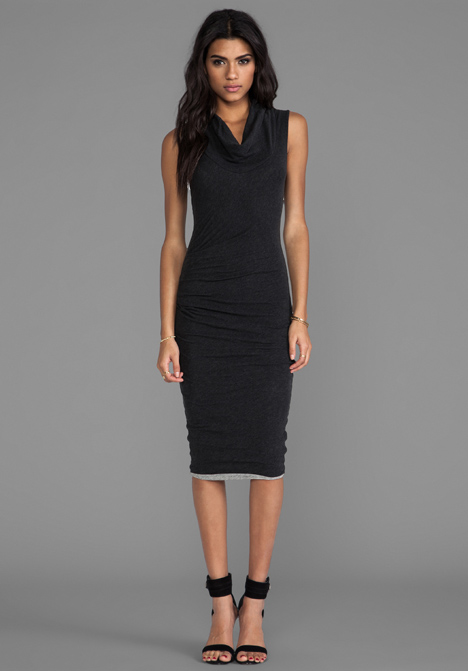 James Perse Cowl Neck Tuck Dress in Charcoal and Heather Grey 2