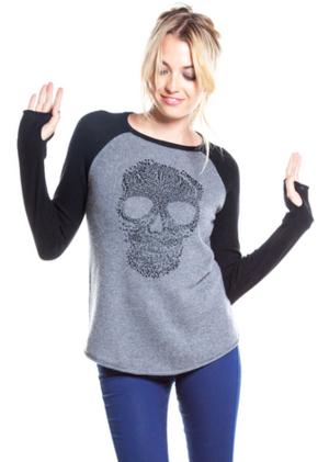 27 Miles Malibu Patricia Skull Sweaters in Charcoal Black