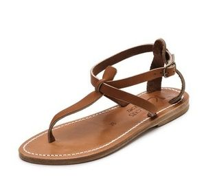 K Jacques Buffon T-Strap Sandals in Pul Natural
