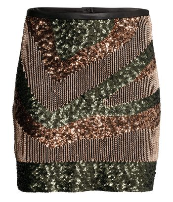 H&M sequined skirt in army green 2