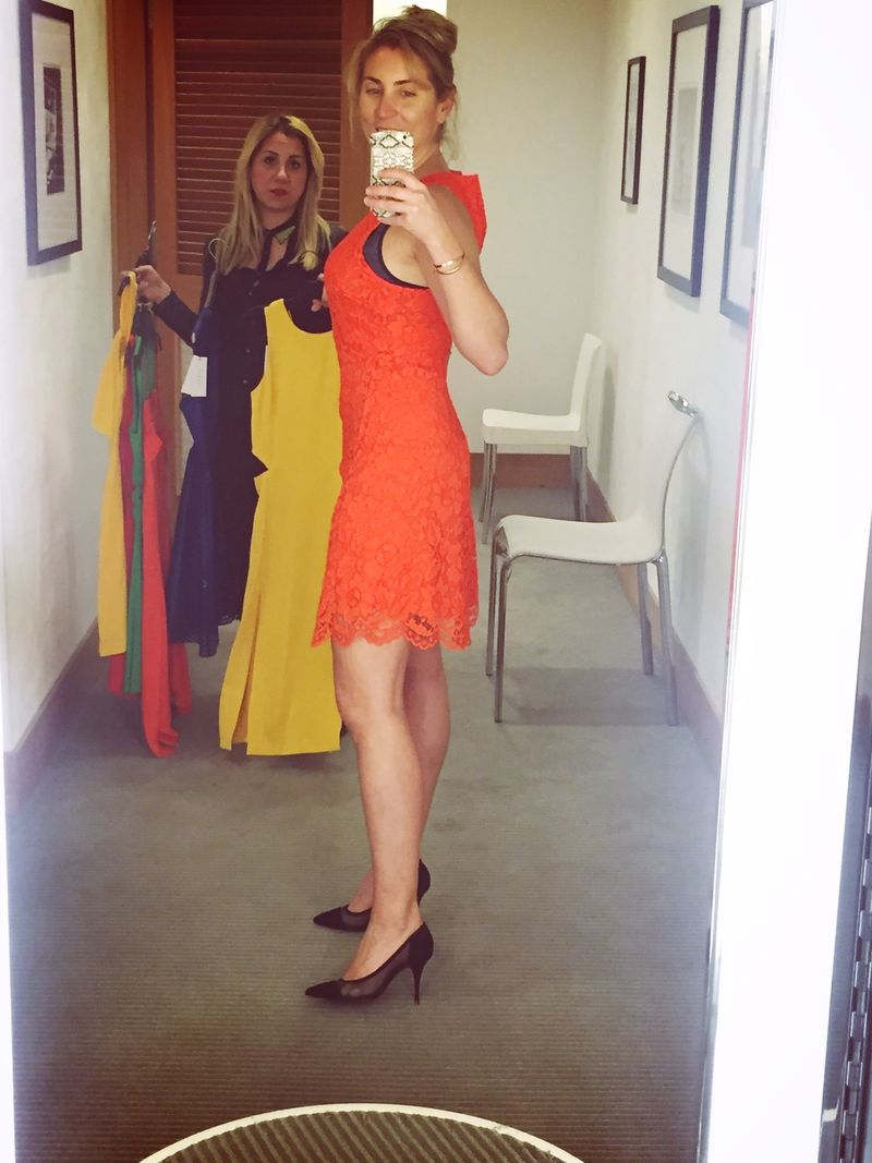 Sandro Paris Rehab Dress in Blazing Orange - side