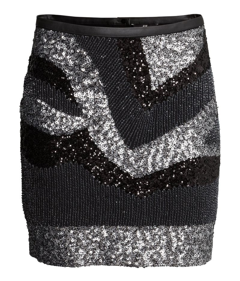 H&M sequined skirt in black