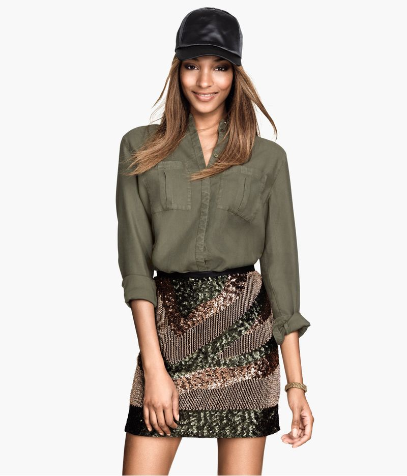 H&M sequined skirt in army green 1