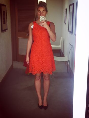 Sandro Paris Rehab Dress in Blazing Orange - front
