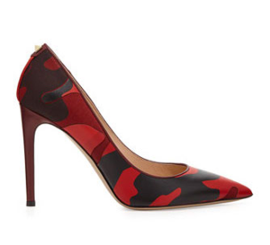Valentino red and black camo printed pointed toe stiletto pumps - fffabulous